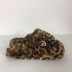 Michael Kors Cheetah Print Fuzzy Slippers